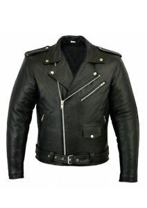 Ak Mani,Mens Brando Motorbike Genuine Leather jacket Black Marlon Classic Jacket