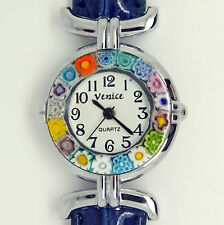 Murano Glass Quartz Watch from Venice with Millefiori and Blue Strap