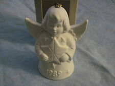 1989 Goebel Angel Bell Ornament White Bisque With Star in Box Free Shipping