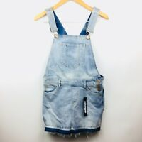 Dollhouse Womens Overalls Skirt Dress Denim Jean Distressed Size 7 Juniors NEW