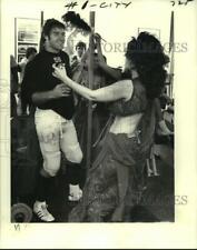 1979 Press Photo Joe Federspiel, Saints Football Player with Belly Dancer