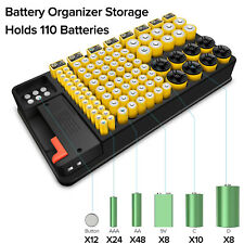 Battery Storage Organizer Case + Removable Battery Tester Support AAA,AA,9V,C