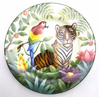 Sakura Jungle Animals Salad Plate Stephanie Stouffer Tiger Parrot Stoneware