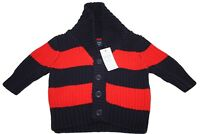 Baby Boys Gap NWT Baby Red Blue Stripe Long Sleeve Button Sweater Size 0-3 Mos