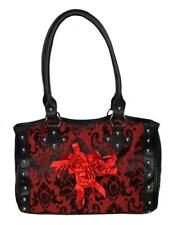 Dark Star Black and Red Gothic Cross Brocade and Roses Hand Bag.