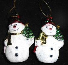 """Set of 2 Snowman Ornaments - 3"""" tall"""