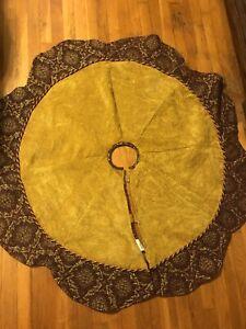"Gold Maroon Brocade ChristmasTree Skirt Reversible Braided 52"" Diameter Satin"