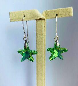 Swarovski Crystal Peridot Starfish Dangle Earrings . 925 Sterling Silver Hooks.