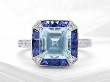 2ct Asscher Cut Blue Aquamarine Art Deco Engagement Ring 14k White Gold Finish
