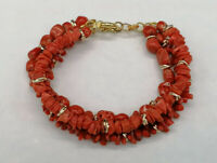 bracciale corallo rosso autentico multifilo argento da donna GIOIELLO ITALIANO