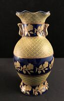 6 Inch Cobalt Blue And Gold Satsuma Vase Beautiful Marked On Bottom Vintage