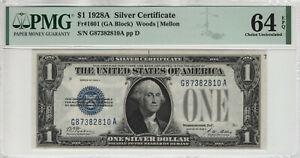 1928 A $1 SILVER CERTIFICATE FUNNY BACK NOTE GA BLOCK FR.1601 PMG CH UNC 64 EPQ