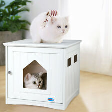 Cat Litter Box Wooden Cabinet Enclosure Hidden Toilet House Furniture Cover Wood