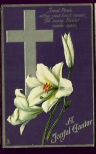 Easter embossed postcrd/ purple bkgrd/ large silver cross/lilies/ silver borders