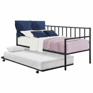 Twin Trundle DayBed w/ 4 Casters Mattress Platform Bed Sofa DayBed Living Room