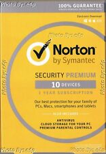 NORTON SECURITY PREMIUM 10 DEVICES 2016 BACKUP PC MAC ANDROID IOS SEALED RETAIL!