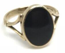 Black onyx solid 9ct gold oval ring. UK size Q. Hallmark 2001. VGC.