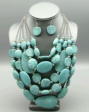 Turquoise Chunky Stone Beaded Multi Layered Necklace Statement Jewelry Strand