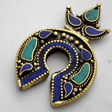 Turquoise Lapis Pendant Brass Tibetan Nepalese Ethnic Tribal Tibet Nepal UP985