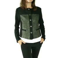 Cabi Womens Mixed Media Jacket Size XS Black Green Textured Snap Button 3036