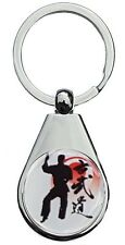 KARATE RED CHROME POLISHED KEYRING PEAR STYLE SHAPE