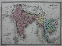 INDIA, SOUTHEAST ASIA, INDO-CHINA, original antique map, Malte-Brun, c.1882
