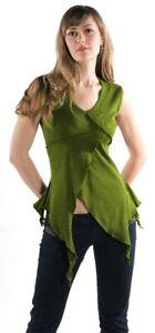 Mittelalter Gothic Bluse Top Zipfel Shirt oliv grün schwarz bordeaux 36 38 40