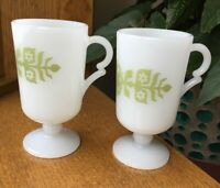 2 VTG WHITE MILK GLASS RETRO GREEN FLOWER FOOTED IRISH COFFEE PEDESTAL MUGS CUP
