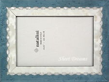 Natalini Hand Made Italy Marquetry Blue Ivory Pearl 4x6 Photo Picture Frame New