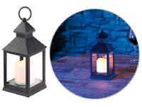 Lanterne LED suspension  lampe à piles incluse  effet flamme vacillante - Noire