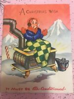 Vintage Christmas Card Art Deco Stove Coal Bucket Igloo North Pole Funny