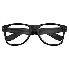 MENS WOMENS NERD BLACK GEEK GLASSES GLOSSY CLEAR LENS Clear frame sunglasses