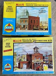 HO-Lot of 2- Building Kits-Fire House, Print Shop, May Have Some Missing Parts