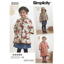 Simplicity 8305 Paper Sewing Pattern Child's 3-8 Dottie Angel Coat Hoodie Jacket