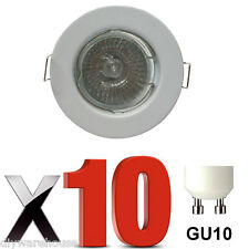 10 X  GU10 DOWNLIGHT MAINS 240V WHITE RECESSED SPOTLIGHT HALOGEN LED DOWNLIGHTS