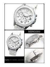 NEW MARC JACOBS SILVER TONE,WHITE SILICONE BAND,CHRONOGRAPH WATCH MBM5500