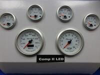 Marshall 6 Gauge Set Comp 2 LED Electric Speedo White Dial Alu Bezel Sport Comp