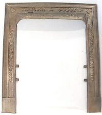 ANTIQUE ORNATE FLORAL DESIGN VICTORIAN CAST IRON FIREPLACE DOOR FRAME SURROUND