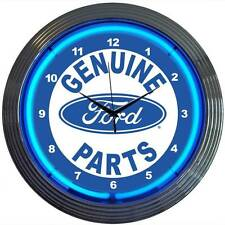 Ford Parts Service Oval Neon Clock Sign Garage Wall Lamp Man Cave Mechanic
