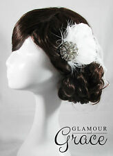 Pandora vintage wedding bridal 1920s white feather fascinator clip headpiece
