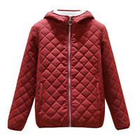 Women's Hooded Sherpa Lined Jacket Quilted Padded Blazer Tops Coat Long Sleeve