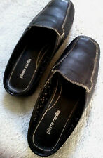 Ladies Pierre Cardin Black Leather Slippers Slip On Shoes Size 4