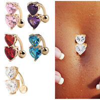1pc Reverse Crystal Bar Belly Ring Gold Body Piercing Button Navel Two HeartHot1