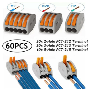 60PCS Reusable Cable Terminal Block Spring Lever Connector 2/3/5 Wire w/OPP Bag