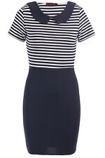 NEW LADIES WOMENS STRIPED CONTRAST COLLARED BODYCON OFFICE PARTY DRESS SIZE 8-14