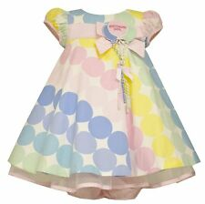 Bonnie Jean Baby Girls Pastel Polka Dot Balloon 1st Birthday Party Dress 12M New