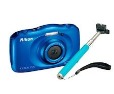 Nikon COOLPIX S33 Waterproof Digital Camera 13MP + Selfie Stick bleu * NEUF *