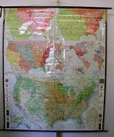 Schulwandkarte USA Karte Nordamerika Großmacht superpower 166x195 map 1965 card