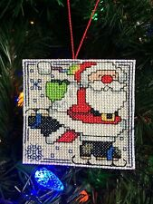 New Handmade Cross Stitch Christmas Ornament-Ice Skating Santa Claus-Completed