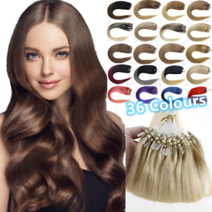 Silicone Micro Ring Beads Link Loop Remy Human Hair Extensions Full Head Thick1g